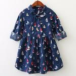 Autumn Baby Girls Long Sleeve Cute Sailboat Print Ribbon Bow Kids Children Clothing Dress Just look, that`s outstanding! Dresses Kids Girl, Kids Outfits, Casual Dresses, Fashion Dresses, Fitted Dresses, Maxi Dresses, Cotton Dresses, Fashion Clothes, Long Sleeve Cotton Dress
