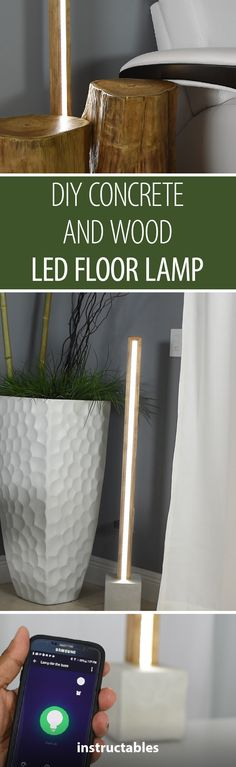 Learn how to cast concrete and embed wood and electronics when you follow the tutorial for this stylish floor lamp! #woodworking #decor #lighting