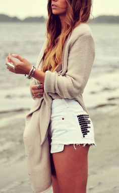 white studded shorts and comfy sweater