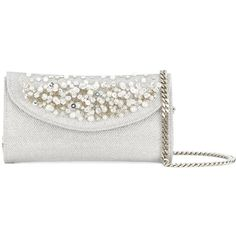 Casadei pearl embellished clutch ($1,500) ❤ liked on Polyvore featuring bags, handbags, clutches, grey, grey clutches, grey purse, casadei, pearl purse and embellished purse