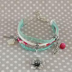 bracelet manchette multi rangs cordon cuir suedine et liberty-fushia blanc blanc et mint thème printemps : Bracelet par tresoreloa