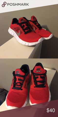 Red Nike Free Run 3 Nike Free Run 3 - look brand new, worn once Nike Shoes Athletic Shoes