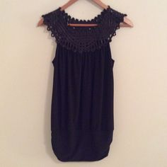 Adorable Black Sleeveless Top EUC. Tag removed. Size medium. Tops Blouses