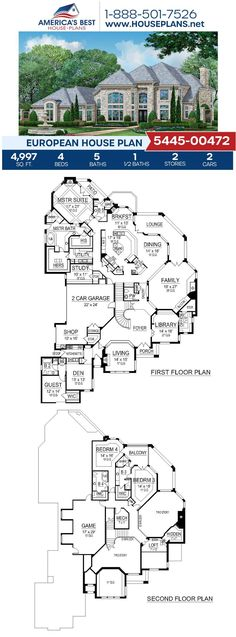 Interested in a European designed house plan? If so, you need to see Plan 5445-00472. This house plan delivers 4,997 sq. ft., 4 bedrooms, 5.5 bathrooms, a loft, a formal living room, a breakfast nook, and his & hers closets. #europeanhomes