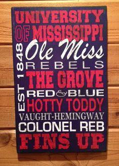Visit our new website at www.signniche.com to see all signs! Ole Miss Rebels REVISED Colonel Reb Wood Distressed Vintage Sign. My original print is