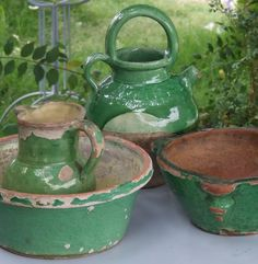These antique pitchers are the real deal. Simple living in french provence - Sharon Santoni