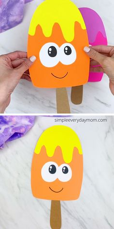 Make this cute and easy popsicle craft with the kids this summer! It comes with a printable template and is simple enough to make with toddlers, preschool and kindergarten children.  #simpleeverydaymom Pre K Activities, Summer Activities For Kids, Easy Crafts For Kids, Summer Crafts, Toddler Crafts, Learning Activities, Kids Learning, Art For Kids, Ice Cream Template