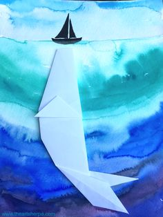 Origami and watercolor painting blended to tell the story of the simple art project for kids and beginners to painting and Origami. Boat and whale under the ocean art .Youtube Tutorial by the Art Sherpa with Jenny Chan