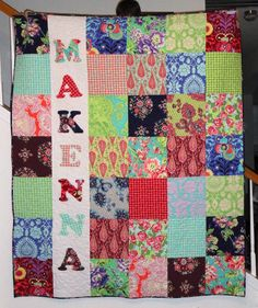 The front of MaKenna's quilt- I used all 26 fabrics from the Amy Butler Love line.