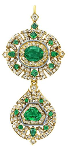 An Antique Gold, Emerald and Diamond Pendant, Circa 1875. Topped by an openwork oval panel centring one oval emerald, suspending a fancy-shaped drop-shaped pendant centring one shield-shaped step-cut emerald, set throughout with 157 old-mine cut diamonds and small rose cut diamonds, accented by 17 square, pear and fancy-shaped emeralds.