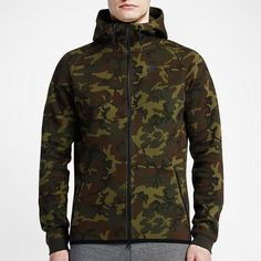 Nike Tech Fleece Windrunner Hoodie Camo Green/Black (694004 355) Men's Sz. L