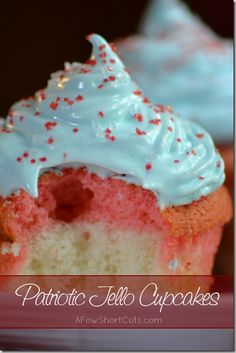 Patriotic Jell-o Cupcakes (make with a #glutenfree mix!) YUM!