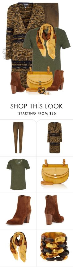 """Brown, Mustard & Green"" by carolinez1 ❤ liked on Polyvore featuring Ralph Lauren Blue Label, Topshop, ATM by Anthony Thomas Melillo, Chloé, Vince, Contileoni and Viktoria Hayman"