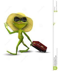 Frog With A Suitcase In A Hat S…