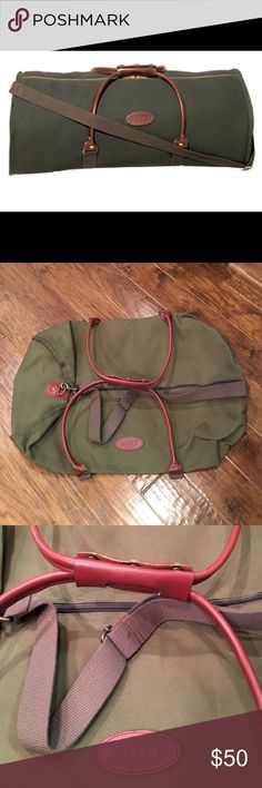 """Boyt Rolled-Handle Duffel Bag NWOT!  Never used. A classic design, with rolled leather handles, web carrying strap and sturdy 22 oz canvas construction. 30"""" x 15"""" x 15"""".  Olive Green. Single zippered main center compartment. Web shoulder strap. Leather handles. Side pocket with zipper. Boyt Accessories"""
