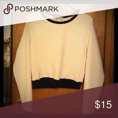 Olsenboye ribbed sweater White poly spandex sweater with black cotton trim Olsenboye Sweaters Crew & Scoop Necks