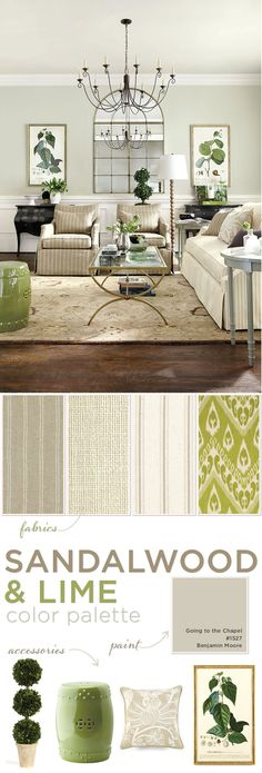 Green accents give a neutral living life ~ LUV SOFT GREENS & BEIGES ~