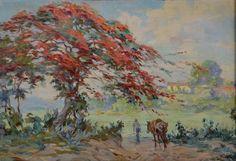 Paisagem Cadmo Fausto (Brasil, 1901-1983) óleo sobre tela,  38 x 55 cm