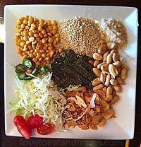 ... cabbage, dried shrimp (or Vegetarian), fried garlic, sesame seeds