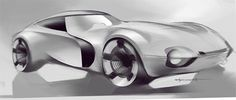 Nikolai Trubni Industrial design digital sketches car renders, idea sketches, automotive renderings from a designer sketchbook, fluid and speed form studies, black and white, cool gray, neutral gray hand rendering using wacom tablet.