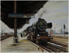 Elsterwerda 1985, das letzte Jahr mit Dampf, Aquarell, 40 x 30 Maler und Fotograf Bernd Kauschmann Old Steam Train, Train Art, Steam Engine, Steam Locomotive, Train Tracks, Vintage Trains, Horses, Classic, Poster