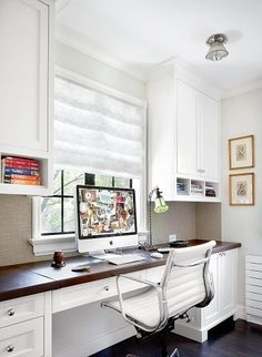 Hanging cabinets on walls allows maximum desk area. Would this work with open shelving too? Can add under-cabinet light for ambient glow for working at night (or trolling Pinterest...)