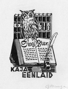 Many bookplates had wise old owls on them-Judith Walker's Collection