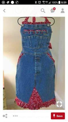Bandana & Denim Apron - so cute! Jean Crafts, Denim Crafts, Jean Apron, Cute Aprons, Denim Ideas, Sewing Aprons, Recycle Jeans, Recycled Denim, Diy Clothing