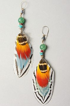 stone & feather earrings...LOVE!!!!