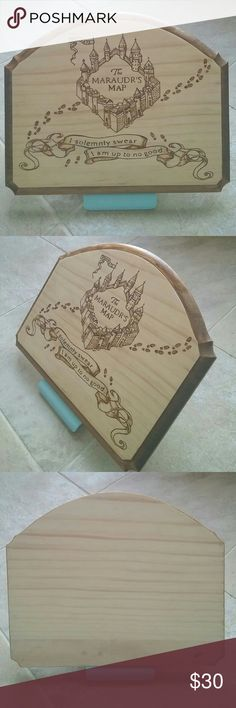 """Marauder's Map woodburn plaque Harry Potter This is a handmade wood burned plaque with the Marauder's map logo and """"I solemnly swear I am up to no good"""" quote. The piece has a wood stained boarder with an unstained front. Dimensions: 11x9 inches and 0.5 inches thick This item was handmade by me so commissions are welcome! Please check out my closet for more items like this! Harry Potter Other"""