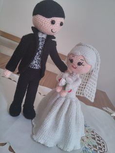 Crochet Dolls Free Patterns, Amigurumi Patterns, Amigurumi Doll, Doll Patterns, Crochet Toys, Crochet Baby, Free Crochet, Wedding Doll, Crochet Wedding
