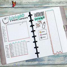 12 Bullet Journal Weight Loss Tracker Ideas — Sweet PlanIt<br> Bullet Journal Weight Loss Tracker, Bullet Journal Workout, Self Care Bullet Journal, Weight Loss Journal, Fitness Journal, Bullet Journal Inspo, Bullet Journal Layout, Fitness Planner, Bullet Journal Health