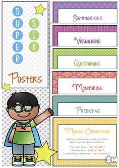 FREE **SUPER SIX COMPREHENSION STRATEGY POSTERS** Help students to become effective readers with these Super Six comprehension posters. Each poster has a student-friendly definition and image to help students engage with metacognitive comprehension strategies and really understand what they are reading, viewing and listening to.