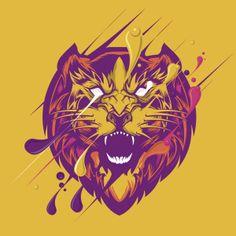 Illustration vectorielle d'un lion avec une grosse crinière en couleurs et éclaboussures.