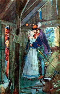 """""""Faust and Margaret In the Summerhouse"""" illustration by Willy Pogany (Hungarian-American, 1882-1955), for a 1908 edition of 'Faust'"""