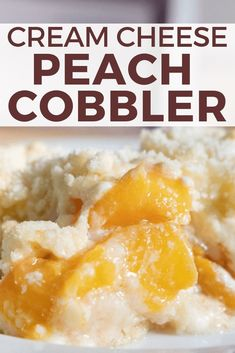 The Ultimate Cream Cheese Peach Cobbler Recipe The ultimate combination of tart peaches, tangy cream cheese, and sweet white cake. This cream cheese peach cobbler is so delicious and easy to make! Peach Cobbler Cheesecake Recipe, Peach Cobbler With Bisquick, Cheesecake Mousse Recipe, Homemade Peach Cobbler, Peach Cobbler Dump Cake, Cobbler Recipe, Peaches And Cream Cake Recipe, Homemade Cheesecake, Classic Cheesecake