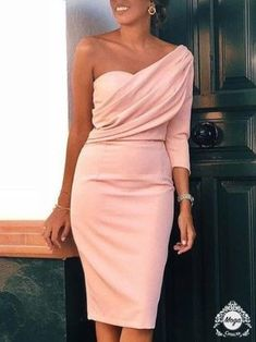 Evening dresses - Solid One Sleeve Ruched Bodycon Dress – Evening dresses Elegant Dresses, Pretty Dresses, Beautiful Dresses, Classy Dress, Classy Outfits, Dress Outfits, Fashion Dresses, Fashion Clothes, Looks Chic