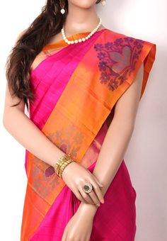 Magenta Pink Colored all over Self Check Designed Pure Soft Silk Saree with Peach with Jari Border and Peach Colored Cross Lined Blouse Part @ Rs 6090 http://www.shreedevitextile.com/women/sarees/soft-silk-saree/shree-devi/magenta-pink-colored-pure-soft-silk-saree-1019