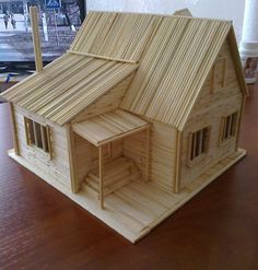 Haus - Arts and Crafts Exactly what are 'arts & crafts'? Normally, the expression 'arts & crafts' refers to handmade products and solutions that were Popsicle Stick Crafts House, Popsicle Sticks, Craft Stick Crafts, Buy Bamboo, Bamboo House, Dollhouse Kits, Miniature Houses, Wood Toys, Model Homes