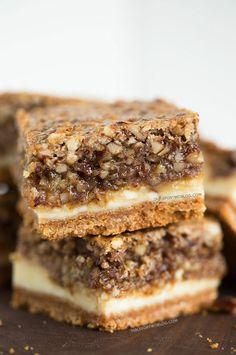 Hazelnut Pecan Cheesecake Bars - Table for Two