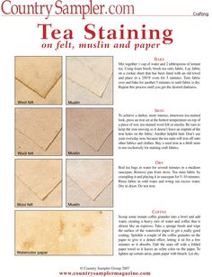DIY Tea Staining Guide (Free PDF) Give paper, cotton fabric and wool felt a timeworn appearance with these handy tea-staining tips! Diy Stamps, Sewing Hacks, Sewing Projects, Sewing Tips, Diy Projects, Fabric Crafts, Paper Crafts, Country Sampler, Tea Stains