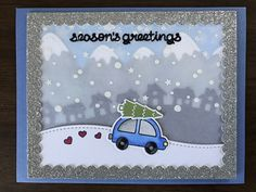 card Christmas car tree Lawn Fawn Home for the holidays Little town border snowcaped mountains season´s greetings driving home for christmas snow snowdrift landscape