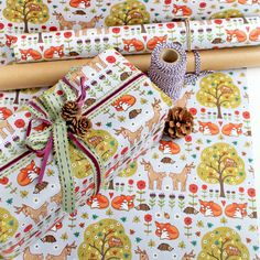Single Sheet Gift Wrap with Tag Woodland Wild by ArtworkByAngie Creative Gift Wrapping, Gift Wrapping Paper, Creative Gifts, Cute Stationery, Stationary, Woodland Christmas, Matching Gifts, Christmas Gift Wrapping, Autumn Theme