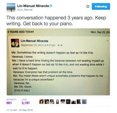 And earlier today, Miranda reminded us *just* how cute he and his wife are with this throwback Facebook post from Sept. 2013 in which he describes a conversation between them. | This Lin-Manuel Miranda Facebook Memory Is The Hope We All Need Right Now