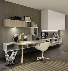 contemporary desk / in wood / with shelf / child's Home Office Layouts, Home Office Design, Home Office Decor, Study Table Designs, Study Room Design, Teenage Girl Bedroom Designs, Modern Office Desk, Room Interior, Interior Design