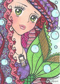 Original ACEO zentangel anime little Mermaid NFAC time theme hourglass bubble #ebay #aceo #anime #mermaid