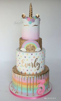 This 4 tier rainbow unicorn cake is definitely a showstopper worthy of being at any birthday party # unicorn cake 15 Captivating Unicorn Birthday Cakes - Find Your Cake Inspiration Unicorn Themed Birthday Party, Birthday Cake Girls, Unicorn Birthday Cakes, Unicorn Party, Rainbow Birthday Cakes, 10th Birthday, Birthday Ideas, Cupcakes, Cupcake Cakes