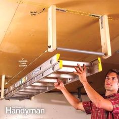 Overhead Garage Storage for Ladder. Build a simple rack to suspend a ladder from your garage ceiling. organization storage the wall Clever Garage Storage and Organization Ideas 2017 Easy Garage Storage, Ladder Storage, Overhead Garage Storage, Garage Storage Solutions, Storage Hacks, Shed Storage, Built In Storage, Diy Storage, Storage Center