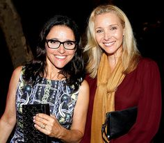 Funny gal Julia Louis-Dreyfus was all smiles (as always) in chunky black rectangular glasses!