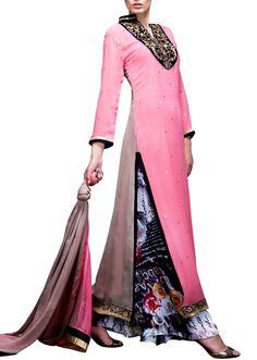 Pink kurta with printed palazzo pants